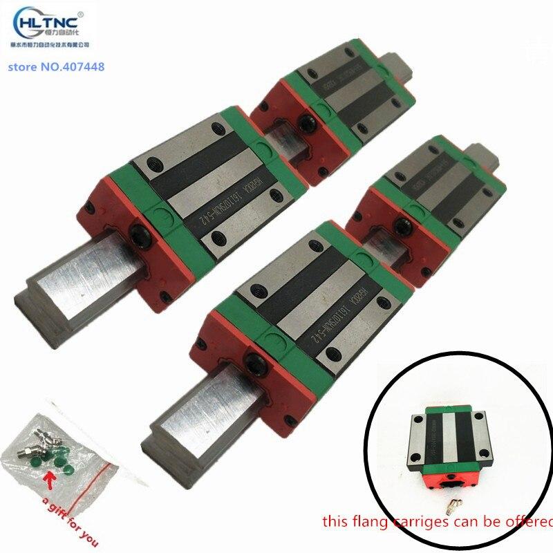 2pc HGR20 HGH20 Rail de guidage linéaire carré toute longueur + 4pc chariot à blocs coulissants HGH20CA/flang HGW20CC gravure sur routeur CNC