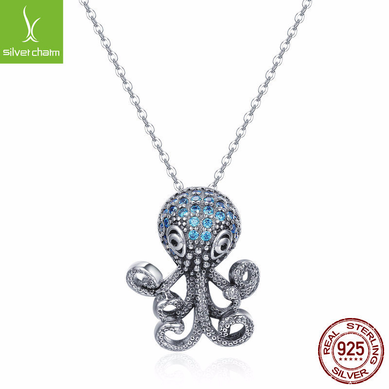 Cute Design Sterling Silver Octopus Pendant Necklace With Blue Cubic Zirconia Women's Pure Silver Animal Necklaces