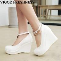 VIGOR FRESHNESS Platform Pumps Women Shoes Spring Wedge Heels 10CM Pumps Autumn Glitter Shoes Height Increasing Pumps MY177