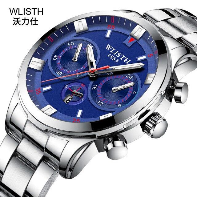 e1ff6aff01c0 WLISTH relojes para hombre marca superior de lujo puntero luminoso  impermeable reloj pulsera cuero acero inoxidable cuarzo