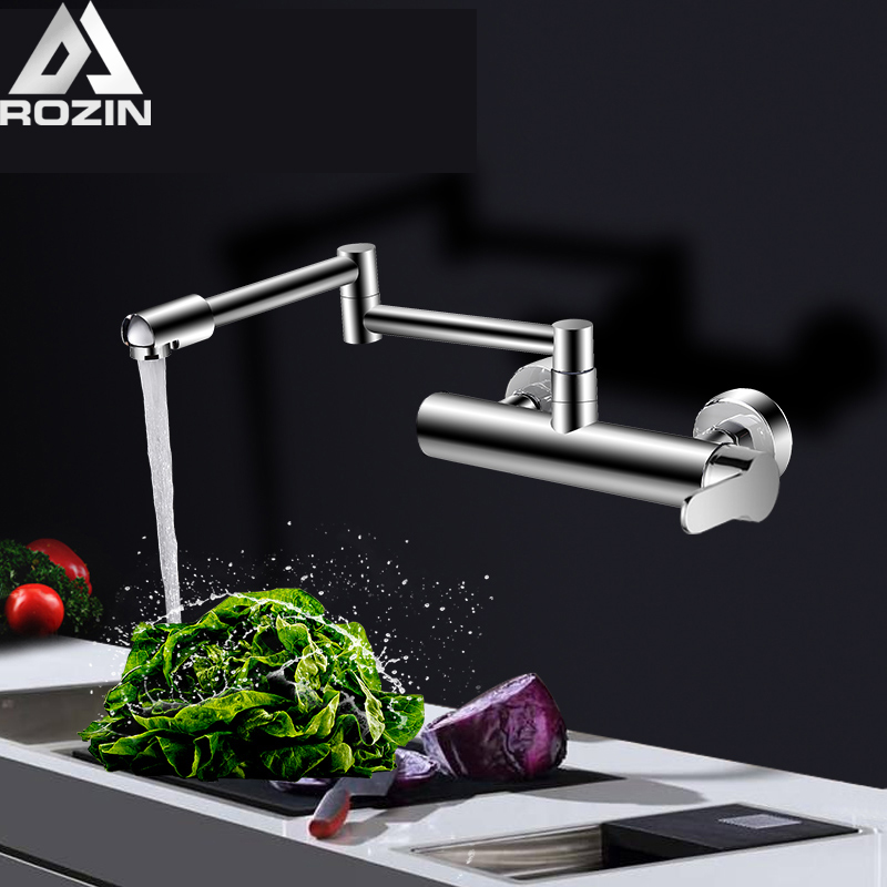 Chrome Rotatable Spout Kitchen Faucet Wall Mounted Stretch and Folding Neck Hot and Cold Water Tap