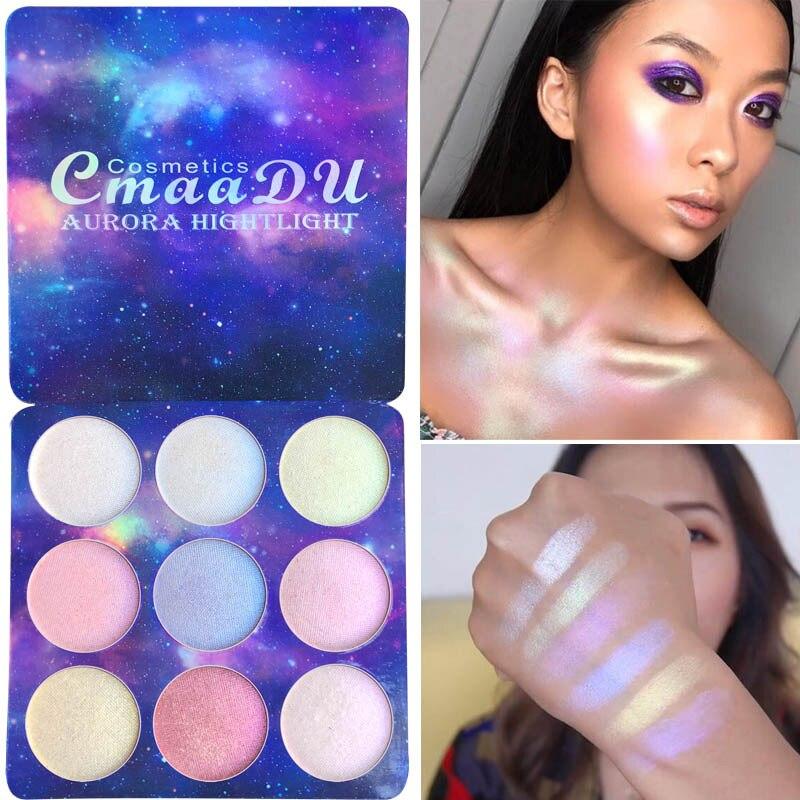 CmaaDu 9 Holográfica Cor Natural Brilhante Camaleão Alta Pigmento Brilho Olho Sombra Em Pó Palette Kit de maquiagem Brilho À Prova D' Água