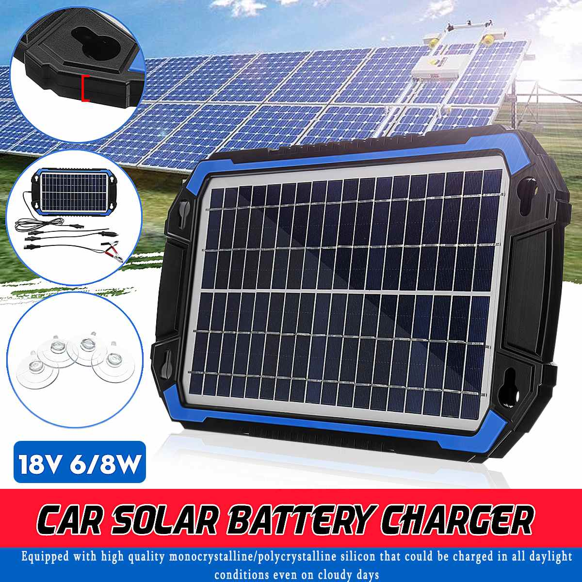 18V 6W/8W Portable Solar Panel Power Car Battery Charger For Car Boat Charging Detachable Connection Multifunction-Protection18V 6W/8W Portable Solar Panel Power Car Battery Charger For Car Boat Charging Detachable Connection Multifunction-Protection