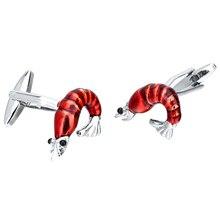 1 Pair 3D Red Shrimp Lobster Animal Brass Cufflinks Funny Mens Cuff Links Jewelry Accessories brass rotating geometry cufflinks brown pair