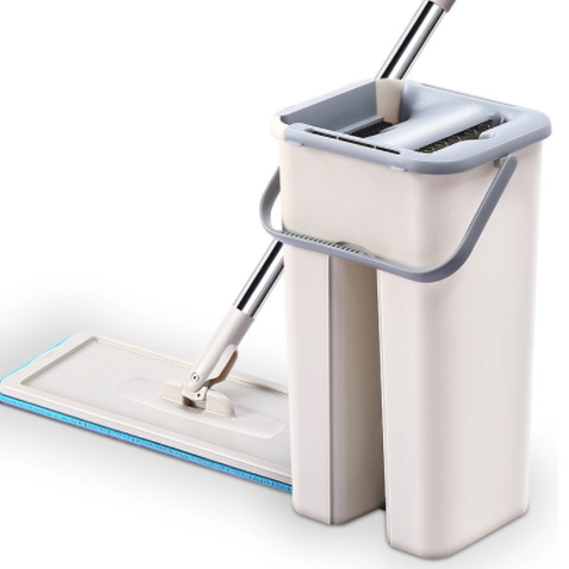 Flat Squeeze Spray Mop Free Hand Wringing Stainless Steel Mop With Bucket Spin Cleaning Microfiber Mop