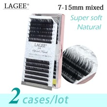 LAGEE 2Cases/Lot 7~15mm mix J B C CC Curl classic natural eye eyelash extension luxury mink glossy black soft false lashes cilia