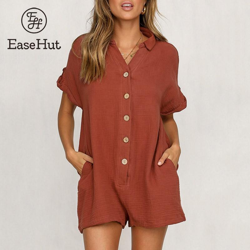 5e459a90c73 EaseHut 019 новый летний комбинезоны для девочек для женщин Винтаж  Свободный Спортивный костюм V средства ухода за кожей шеи рубашка с  короткими .