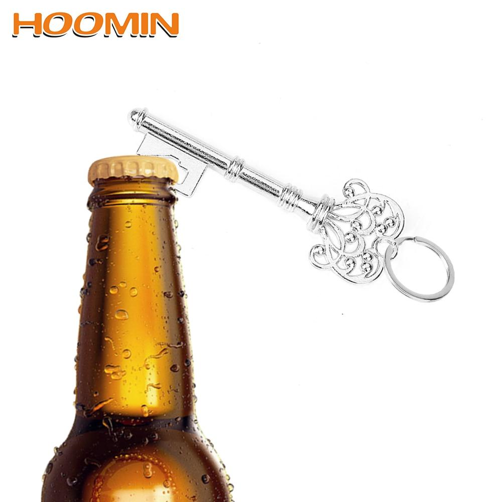 HOOMIN Retro Metal Can Opener Keyring Hanging Keychain For Wedding Party Key Shape Beer Bottle Opener Multifunction