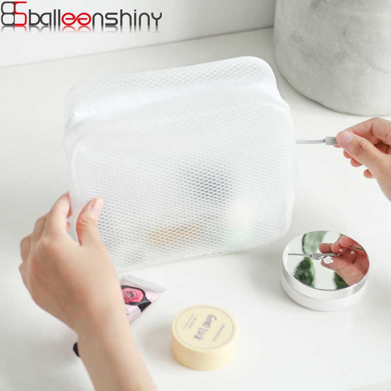 BalleenShiny Branco À Prova D' Água Saco de Cosméticos Multi-Função de Malha Transparente Com Zíper Higiênico Viagem Bolsa de Maquiagem saco Passaporte Titular