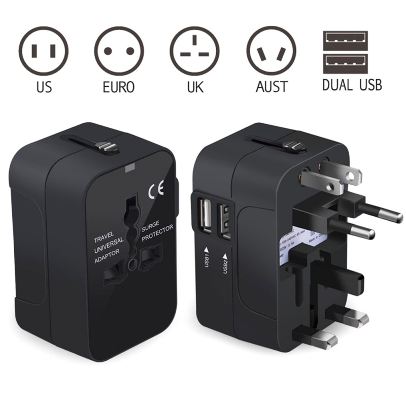 Travel Adapter For US EU UK AUS CNY International Universal Power Adapter All in one Socket 2 1A Dual USB Worldwide Wall Charger in Mobile Phone Chargers from Cellphones Telecommunications