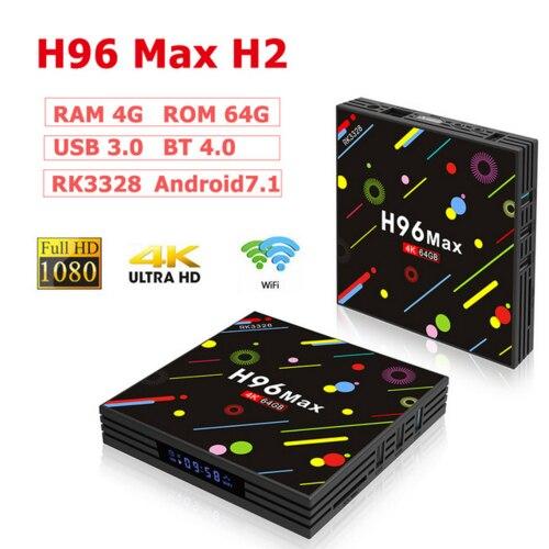 H96-MAX-H2 tv box mart-4K-Android-7-1-4GB-32GB-64GB-RK3328-Quad-core-wifi-TV-Box commande vocale USB 3.0 2.4G/5G WiFi HDMI Media
