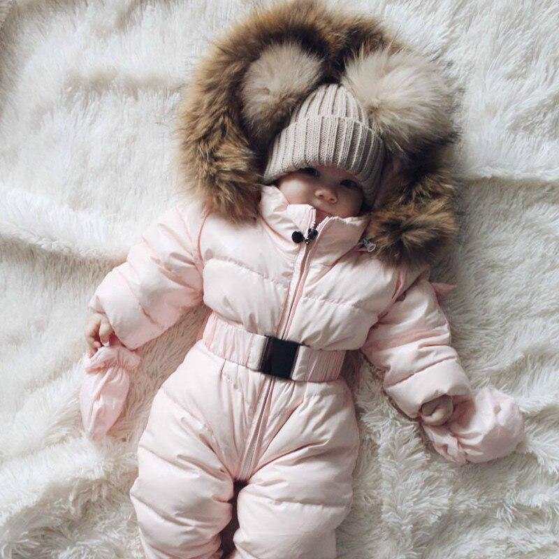 2019 Baby Baby Jongen Meisje Romper Jas Winter Lange Mouwen Hooded Jumpsuit Warme Dikke Jas Sneeuw Wear Baby Kleding Dropshiping Voor Snelle Verzending