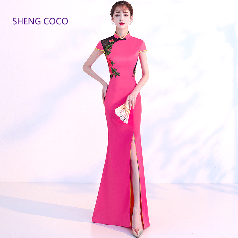 SHENG COCO Long Pink Gown Oriental Collars Fashio Cheongsam Long Evening Dress Sexy Split Chinese Traditional Vintage Woman