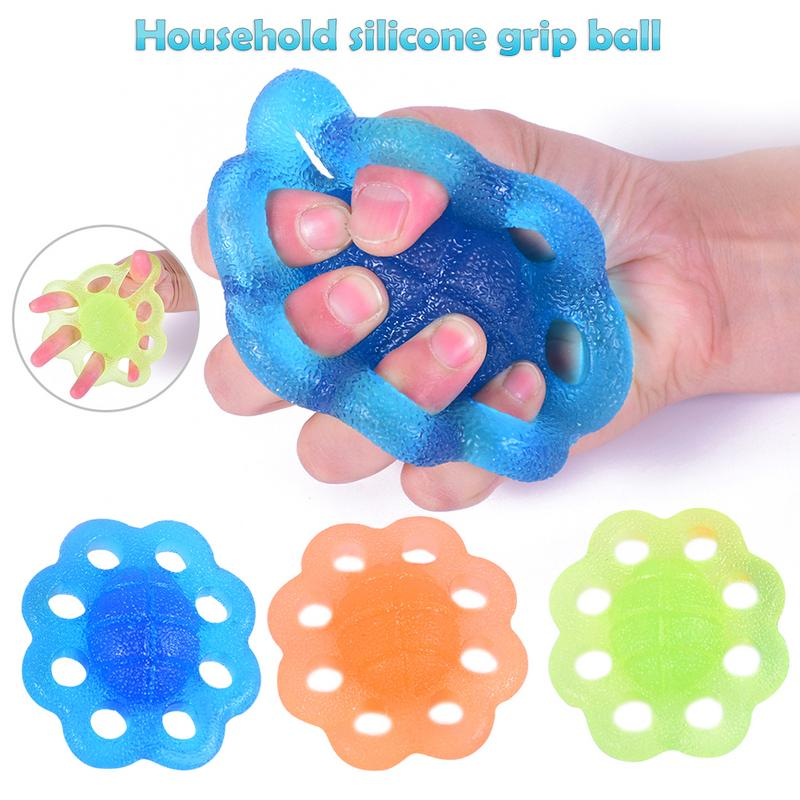 Silicone Grip Ball Rehabilitation Training Finger Palm Hand Grip Strengthener Finger Exerciser Squeeze Grip Ball Stress Relief