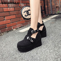 GBHHYNLH New Women Winter Ankle Boots Wedge Platform shoes punk Woman Boots 8CM High Top Botas Feminina casual shoes LJA502