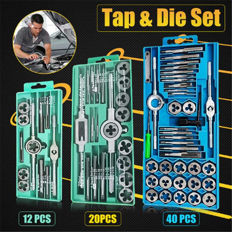 12/20 pcs M6-M12/M3-M12 Metric Tap with 5pcs Die and Adjustable Tap Wrench Nut Bolt Alloy Metal Hand Tools12/20 pcs M6-M12/M3-M12 Metric Tap with 5pcs Die and Adjustable Tap Wrench Nut Bolt Alloy Metal Hand Tools