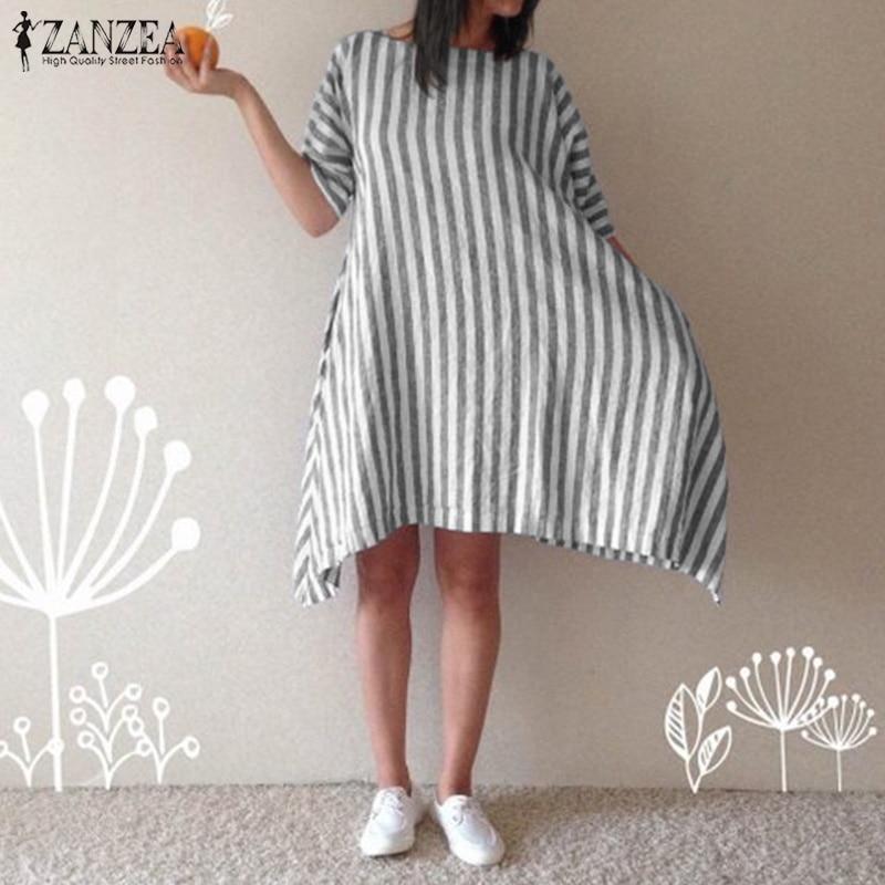 ZANZEA 2019 Women Casual Striped Dress Female O Neck Short Sleeve Pockets Vestido Summer Ladies Cotton Dress Party  Robe 5XL