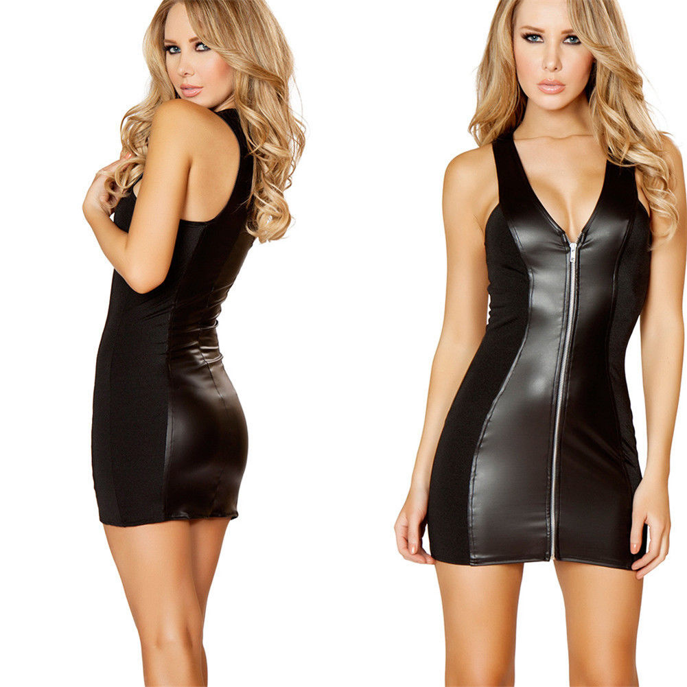 Hot Women Black PU Leather <font><b>Frauen</b></font> <font><b>Sexy</b></font> Bodycon <font><b>Dress</b></font> Party Clubwear Sleeveless Mini <font><b>Dress</b></font> Minikleid Leder image
