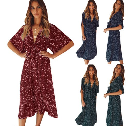 Fashionable Women Summer Chiffon Sexy And Charming V-Neck Dresses Ladies Half Sleeve Dot Printing Knot Party Dress NEW