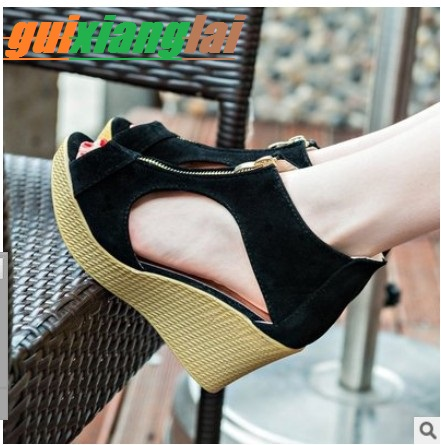 Sandals Muffin-Shoes Heel-Fishmouth Spring High-Heel Large-Size Summer Women' New Slope