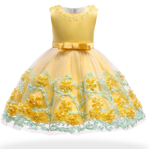 Image 5 - 0 24M Baby Girls Infant Party Vestidos Flower Tutu Dresses For Summer Party Baby Girls Clothes Sleeveless Princess Wedding Dress