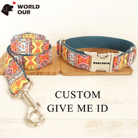 Custom Dog Collar And Leash Set Nylon Cotton Metal Collar For Puppies ID Tag Small Little Large Dog Collar Personalized Pitbull