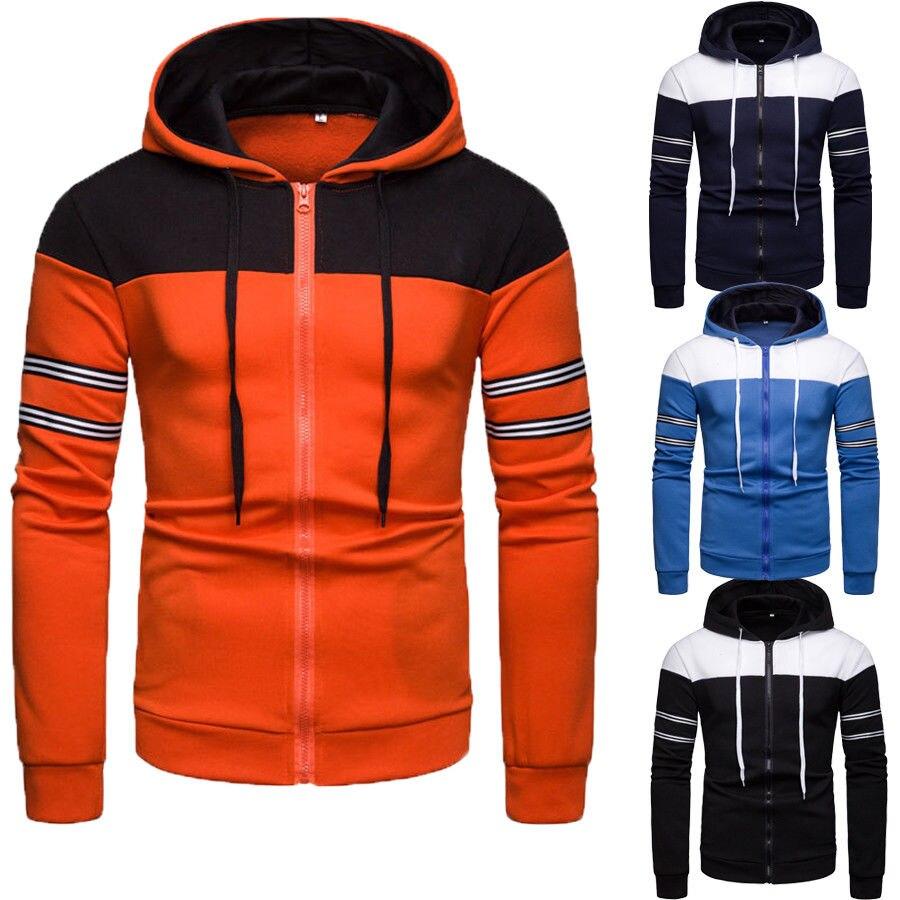 Men's Winter Warm Hoodies Slim Fit Hooded Coat Sweat Shirt Outwear Men Fashion Casual Contrast Coat Jacket