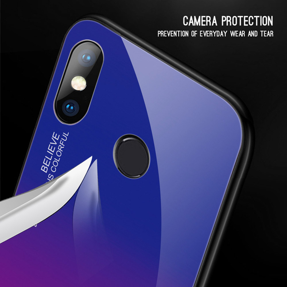 KISSCASE Gradient Glass Case For Xiaomi Note 6 Pro 7 Hard Mirror Back Case For Xiaomi Mi9 8 A2 lite Pocophone F1 Cover Fundas in Fitted Cases from Cellphones Telecommunications