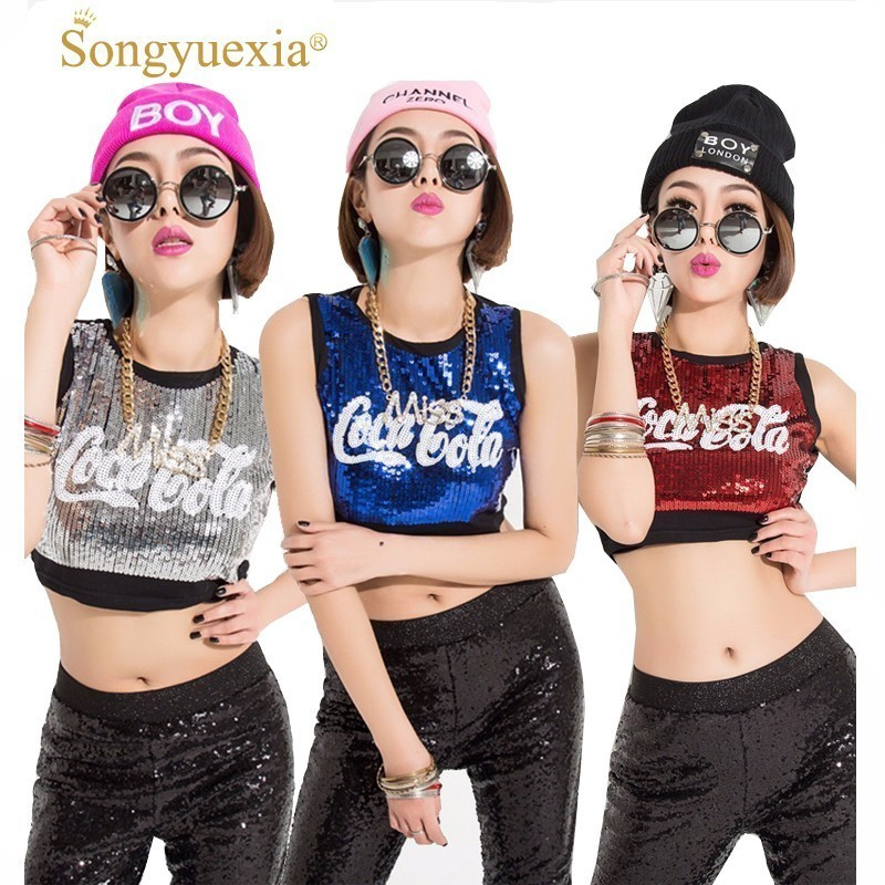 Songyuexia Jazz Dance Costumes Lady Cheerleading Clothing Sexy Red Sequins Nightclub Bar Dj Group Hip Hop Stage Top For Sing