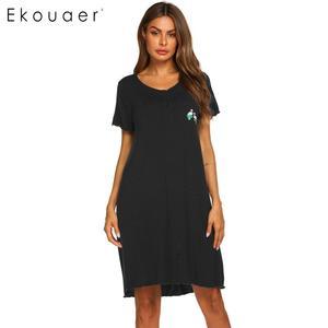 Image 3 - Ekouaer Summer Nightgown Women Sleepwear Dress O Neck Short Sleeve Front Button Pocket Decoration Chemise Night Dress