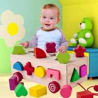 16 Holes Cognitive Puzzles Matching Building Intelligence Box Shape Sorter Baby Toy Educational Popular Gift For Children