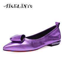 AIKELINYU 2019 Casual Women Flats Cusp Flower Genuine Leather Shoes  Fashion Shallow Purple Comfortable Low-top Lady
