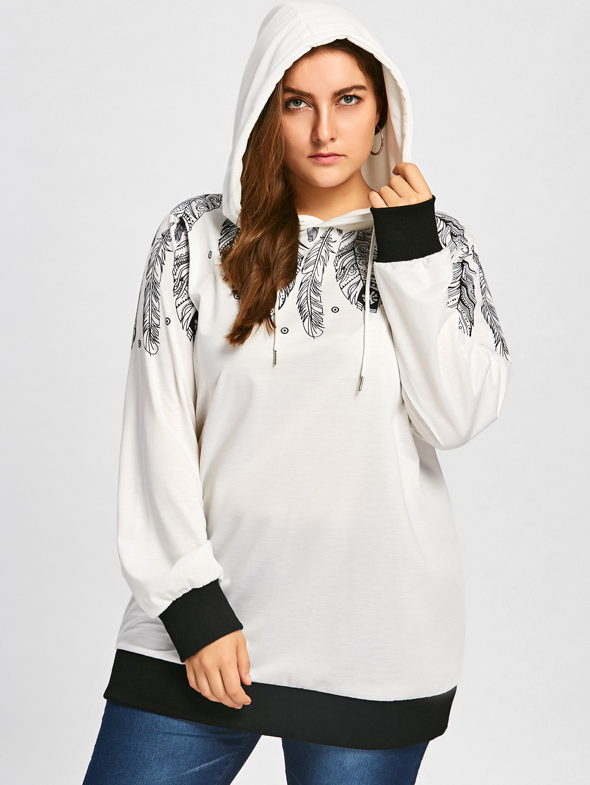 Patchwork Plus Size Drawstring Feather Print Tunic Hoodie Halloween Hoodie Streetwear Tracksuit Autumn Sudadera Mujer