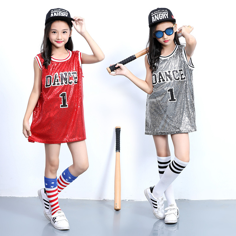 New Children's Jazz Modern Dance Costume Jazz Sequins Embroidered Vest Girl Street Dance Cheerleading Costume