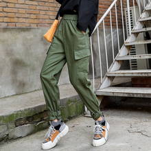 Qiukichonson Hip Hop Women Cargo Pants 2019 Europe and America Fashion High Waist Capris Trousers Army Green Harem Pants