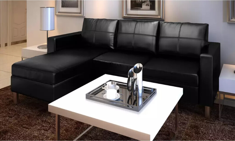 Vidaxl 2 in 1 Sofa 3 Seat Sectorial Synthetic Leather Black Living Room Sofa Home Furniture Modern L-Shaped Sofa Bed Assembly