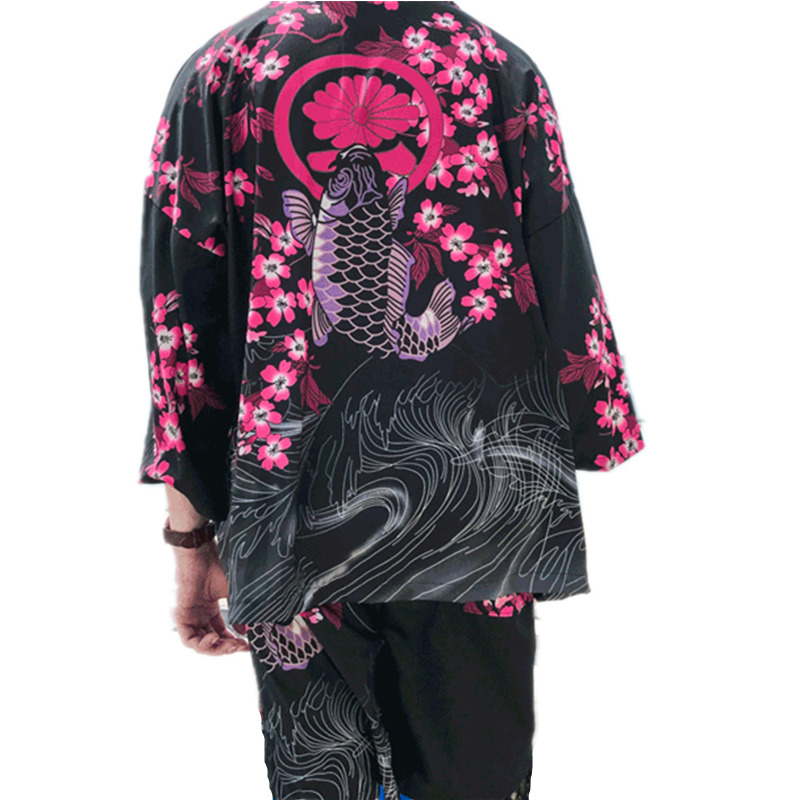 2019 Summer Fashion Men Floral Sakura Carp Print Shirts+Shorts Set Male Casual Cardigan Blouse Clothing Sets Beach Tracksuit