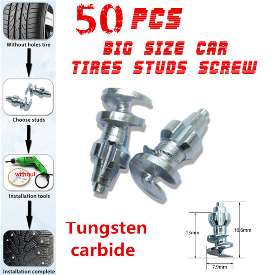 Car Tires Studs Spikes Wheel 16 6 x7 9mm Snow Chains Carbide Screw Tire Stud For Car Truck Motorcycle Tires Winter 50pcs Set in Snow Chains from Automobiles Motorcycles