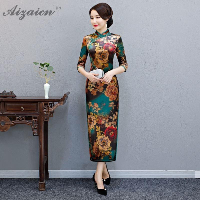 Velvet Green Cheongsam Mom Dress Oriental Wedding Gowns Dresses Traditional Women Chinese Fashion Evening Gown China Cheongsams gown