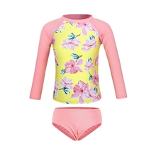 AmzBarley Little Girls Long Sleeve Printing Swimsuits Two Piece Rash Guard Bikini Set Sun Protection Toddler Kids Bathing Suit