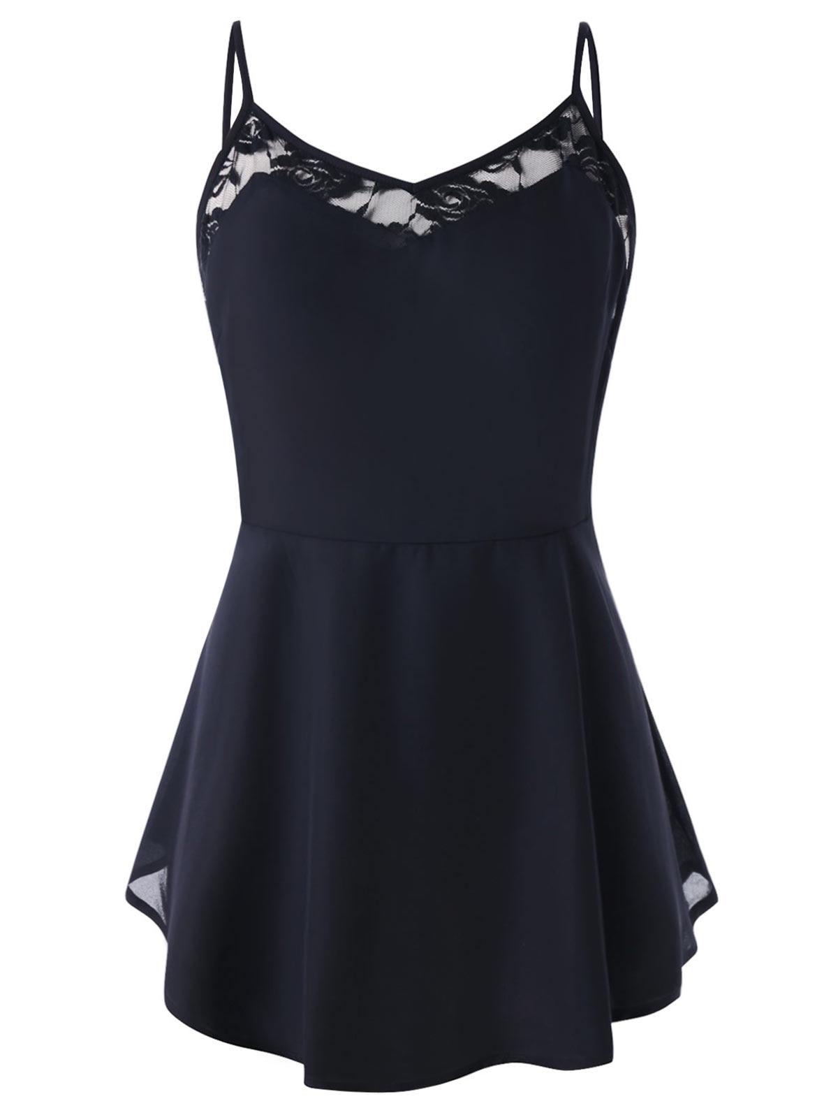 Wipalo Plus Size Lace Panel Spaghetti Strap Peplum T-Shirt Women Sleeveless Summer Camis High Waist Ladies Tops Tees