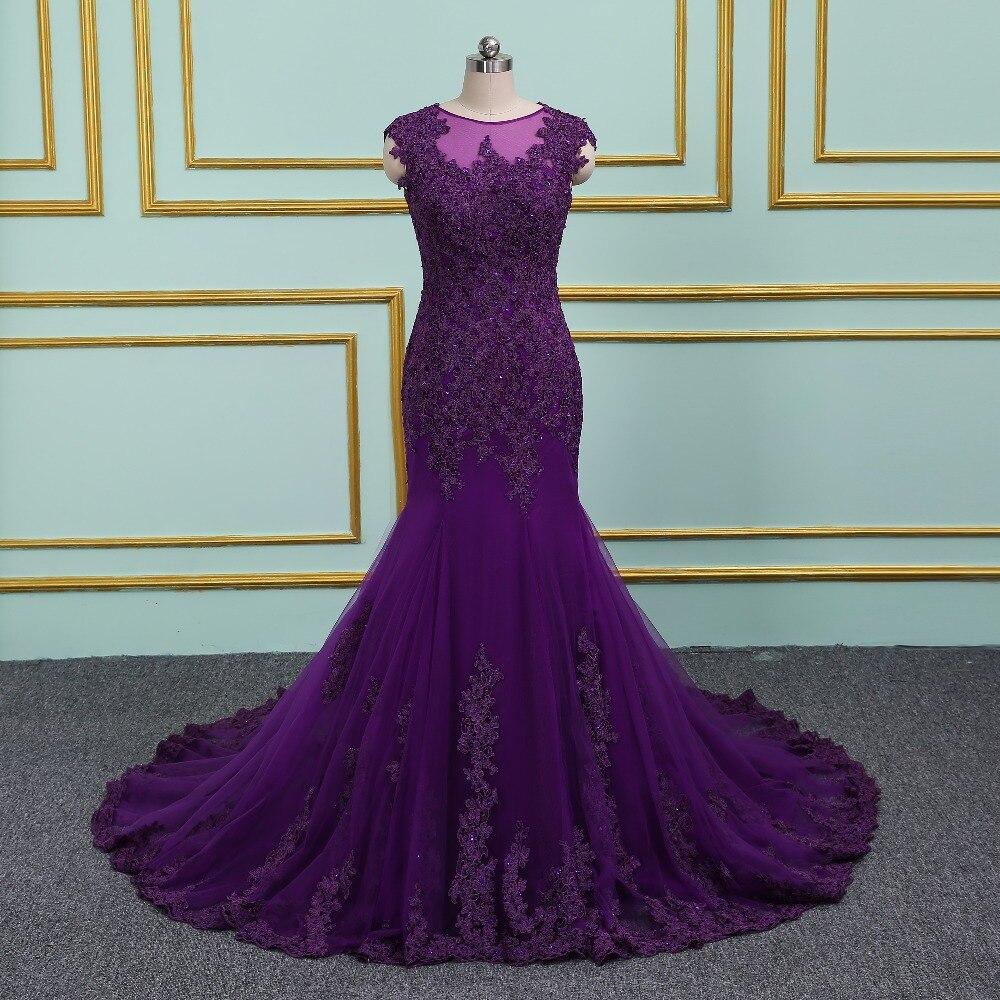 2018 nouveauté élégante robe de soirée pourpre robes de bal longue robe Vestido de Festa sirène perles dentelle Appliques longue robe