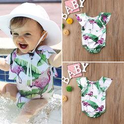 Летний детский купальник для девочки дети Фламинго цветочный принт цельный бикини с рюшами Детские бикини милый купальник для младенцев 2