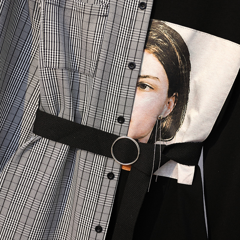XL-5XL Plus Size Women Long Sleeve Dress Spring 2019 Streetwear Print Knitted Cotton Long T-shirt Patchwork Plaid Shirt Dresses
