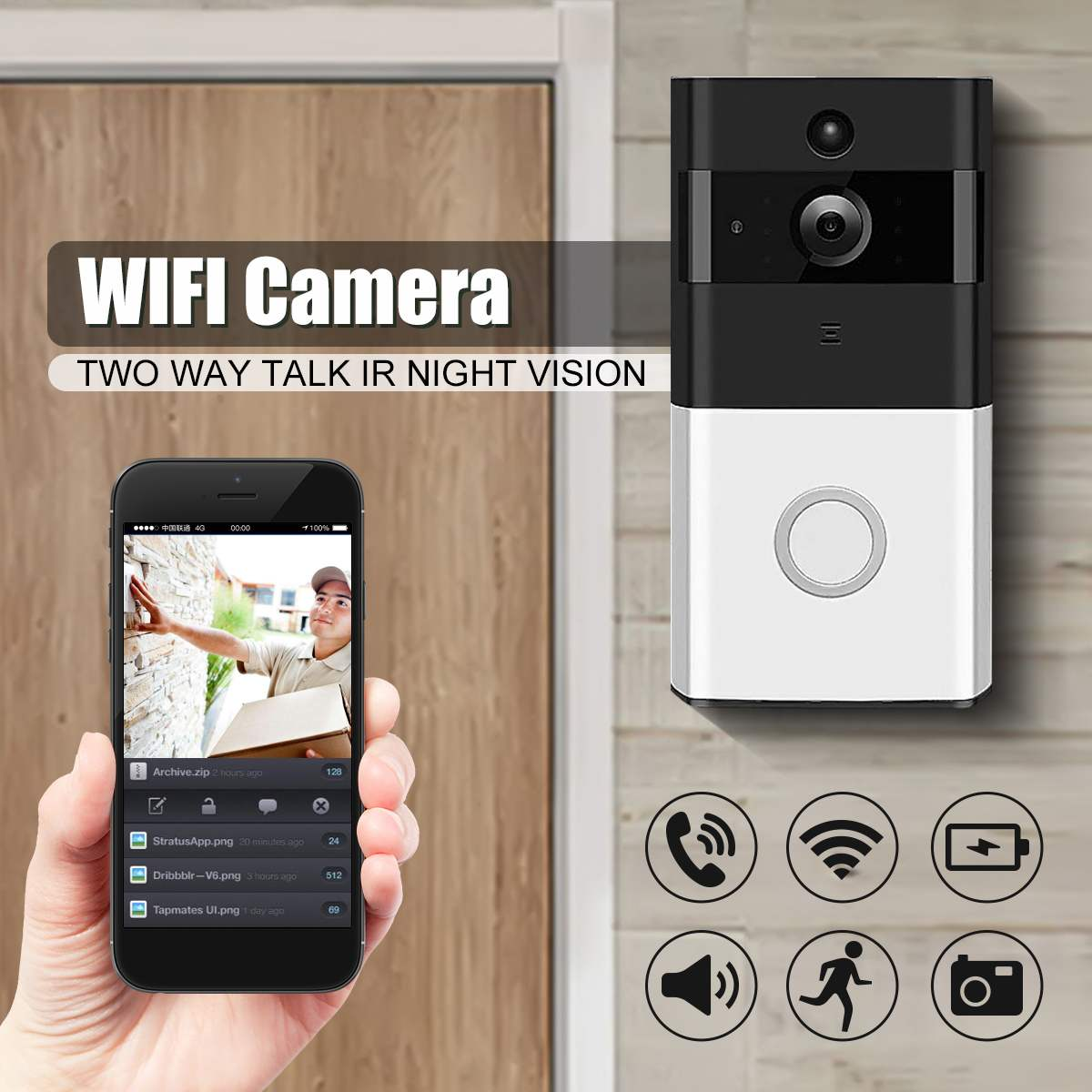 wireless doorbell peephole camera wifi video doorbell receiver set audio with speaker night. Black Bedroom Furniture Sets. Home Design Ideas