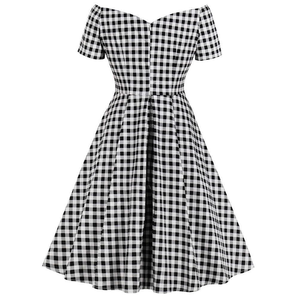 Joineles/сексуальное летнее платье в стиле ретро с v-образным вырезом и клетчатым принтом в стиле пин-ап расклешенное винтажное платье в клетку, вечерние платья в стиле рокабилли
