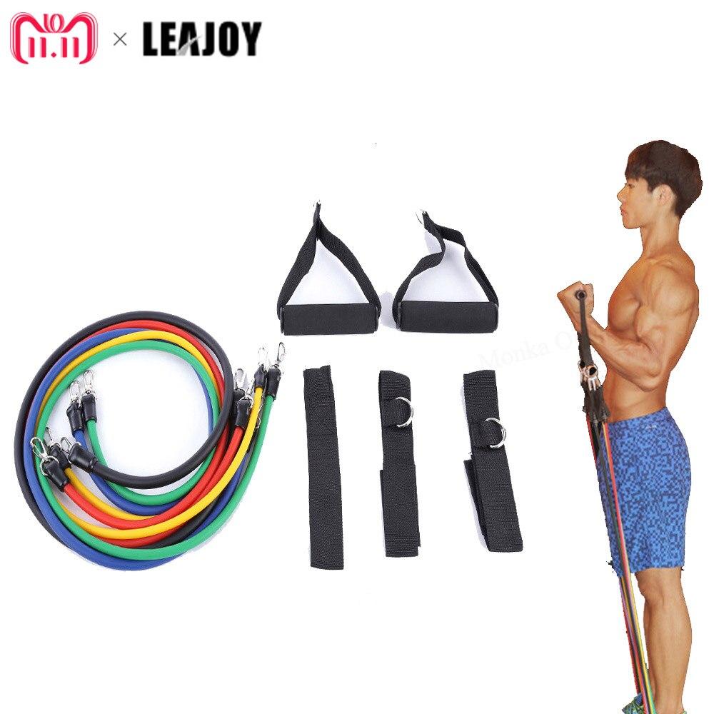 LEAJOY 11 unids/set tubo de látex expansores tubos de ejercicio bandas de resistencia a la fuerza tira de cuerda Pilates Crossfit Fitness equipo