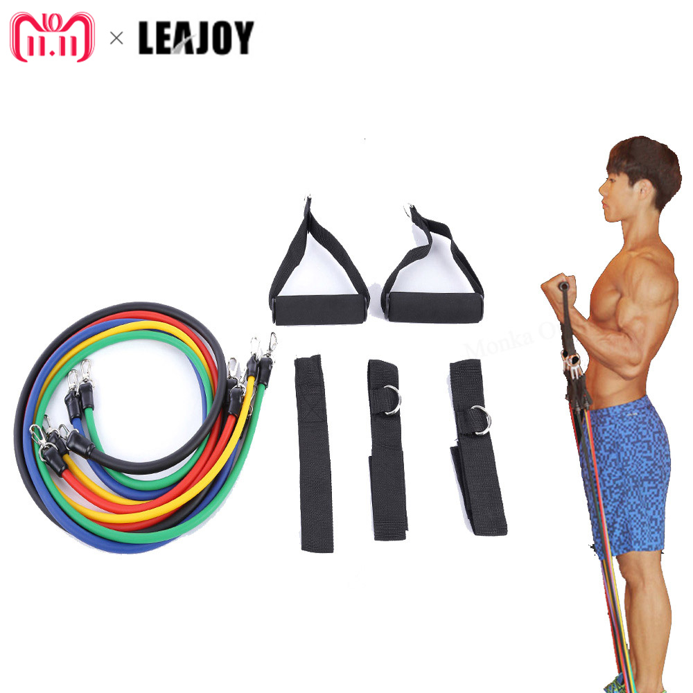 LEAJOY 11pcs/set Latex Tubing Expanders Exercise Tubes Strength Resistance Bands Pull Rope Pilates Crossfit Fitness Equipment leajoy gm 006 5pcs set tension resistance fitness band