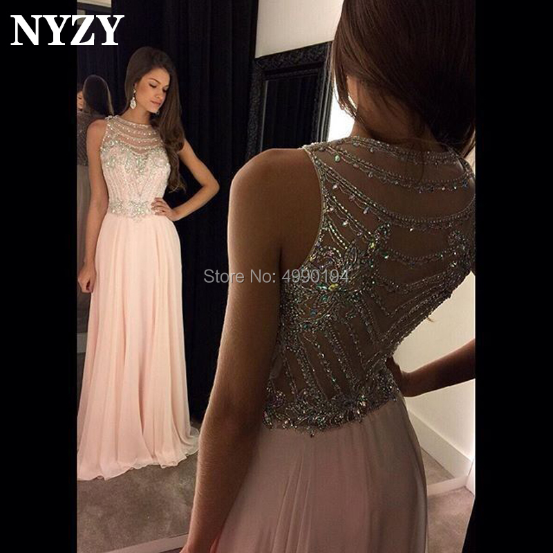 NYZY P43 Real Sample vestidos de festa Chiffon Pink Elegant Crystal   Prom     Dresses   2019 Custom Made