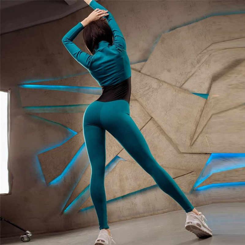 Baru Ritsleting Bodysuit Wanita Baru Fashion Warna Stracksuit Jumpsuit Kebugaran Lengan Panjang Turtleneck Slim Kurus Solid